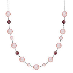 5.5-9mm Pink Cultured Freshwater Pearl and Garnet Red Velvet Necklace (18 in.)
