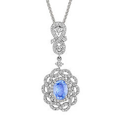 Oval Ice Blue Sapphire and Diamond Interwoven Pendant (18 in.)
