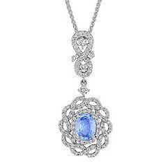 Oval Ice Blue Sapphire and Diamond Interwoven Pendant (18 in.)