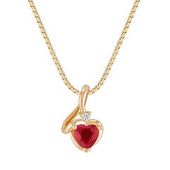 Heart-Shaped Ruby and Round Diamond Pendant (18 in.)