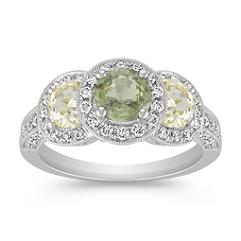 Round Green Sapphire, Half Moon Yellow Sapphire and Round Diamond Ring