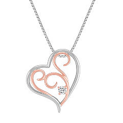 Sterling Silver and 14k Rose Gold Diamond Heart Pendant (18 in.)