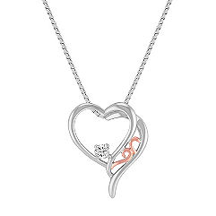 Diamond Heart Pendant in Sterling Silver and 14k Rose Gold (18 in.)
