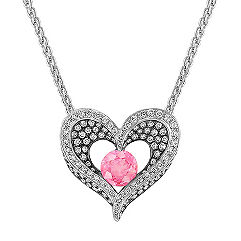 Round Pink Sapphire and Diamond Heart Pendant with Black Rhodium (18 in.)