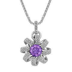 Round Lavender Sapphire and Diamond Spiral Pendant (18)