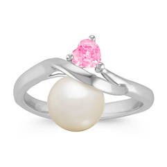 8mm Cultured Freshwater Pearl and Heart-Shaped Pink Sapphire Ring in Sterling Silver