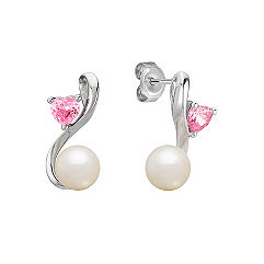 6.5mm Cultured Freshwater Pearl and Heart Shaped Pink Sapphire Earrings in Sterling Silver