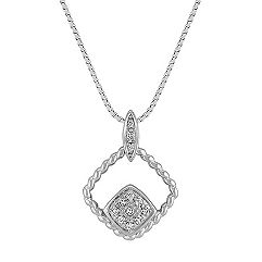 Diamond Twist Contemporary Pendant in Sterling Silver (18 in.)