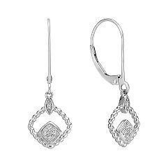 Twisted Diamond Leverback Earrings in Sterling Silver