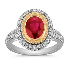 Oval Ruby, Round Ruby and Diamond Ring in Two-Tone Gold