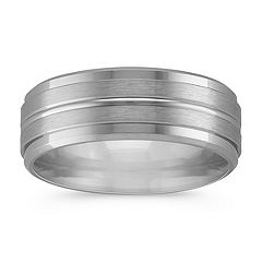14K White Gold Comfort Fit Wedding Band with Engraved Rings (8mm)