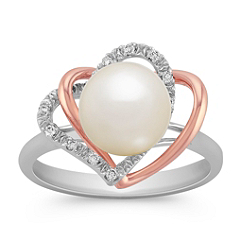 8.5mm Cultured Freshwater Pearl and Diamond Double Heart Ring in Sterling Silver & 14k Rose Gold