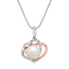 8.5mm Cultured Freshwater Pearl and Diamond Double Heart Pendant in Sterling Silver (18 in.)