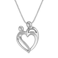 Mother & Child Heart Pendant in Sterling Silver (18)