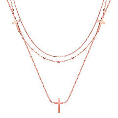 Rose Sterling Silver Triple Chain Cross Necklace (18)