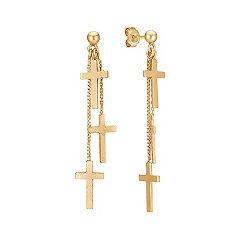Yellow Sterling Silver Cross Dangle Earrings