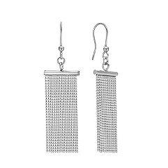 Sterling Silver Multi-Chain Dangle Fish Hook Earrings