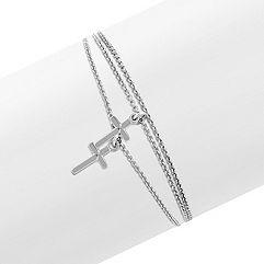 Sterling Silver Triple Chain Cross Bracelet (7.5)
