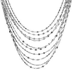 Ten Chain Layered Sterling Silver Necklace (18 in.)