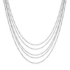 Five Chain Sterling Silver Layered Necklace (18 in.)