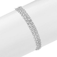 Sterling Silver Triple Chain Bracelet with Heart Magnetic Clasp (7.5 in.)