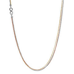 Tri-Tone Sterling Silver Infinity Necklace (35 in.)
