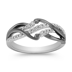 Round Diamond Ring with Black Rhodium and Pave Setting