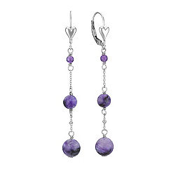 Amethyst and Charoite Leverback Earrings in Sterling Silver