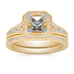 Vintage Halo Round Diamond Wedding Set with Pavé Setting