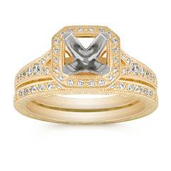 Vintage Halo Round Diamond Wedding Set with Pavé Setting