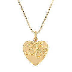 14k Yellow Gold Swirling Heart Pendant (18 in.)