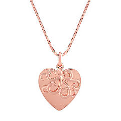 14k Rose Gold Swirling Heart Pendant (18 in.)