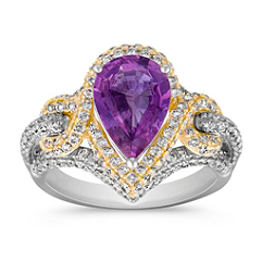 Pear Shaped Lavender Sapphire and Diamond Ring in Two-Tone Gold