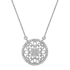 Arabesque Circle Diamond Pendant in 14k White Gold (18 in.)