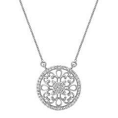 Arabesque Circle Diamond Pendant in 14k White Gold (18 in.)