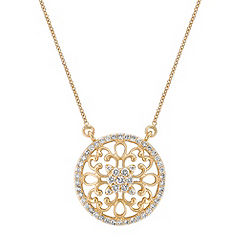 Arabesque Circle Diamond Pendant in 14k Yellow Gold (18 in.)