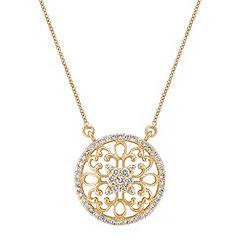 Arabesque Circle Diamond Pendant in 14k Yellow Gold (18 in.)