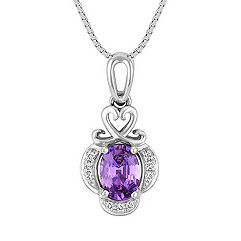Oval Lavender Sapphire and Diamond Engraved Pendant (18 in.)