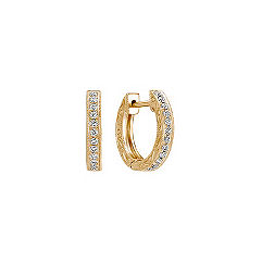 Engraved Round Diamond Hoop Earrings in 14k Yellow Gold