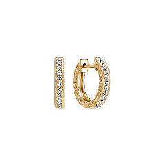 Engraved Round Diamond Hoop Earrings in 14k Yellow Gold