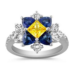 Princess Cut Yellow Sapphire, Trillion Sapphire, Calla Cut and Round Diamond Ring