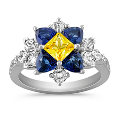 Princess Cut Yellow Sapphire, Trillion Sapphire, Calla Cut and Round Diamond Ring