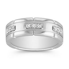 Engraved Round Diamond Ring with Pave Setting