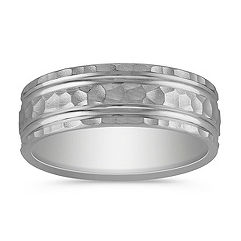 Hammered 14k White Gold Ring with Engraved Finish (7.5mm)