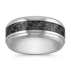 Comfort Fit Cobalt Ring with Carbon Fiber Accents