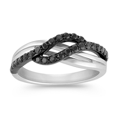 Black Sapphire and White Gold Swirl Ring