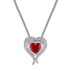 Heart Shaped Ruby and Diamond Heart Pendant (22 in.)