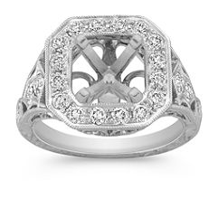 Engraved Halo Vintage Round Diamond Engagement Ring with Pave Setting