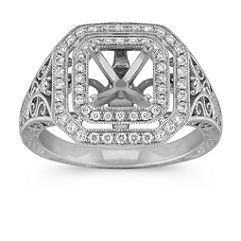 Engraved Vintage Diamond Double Square Halo Engagement Ring with Pave Setting