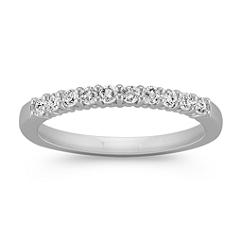 Ten-Stone Classic Round Diamond Wedding Band in White Gold